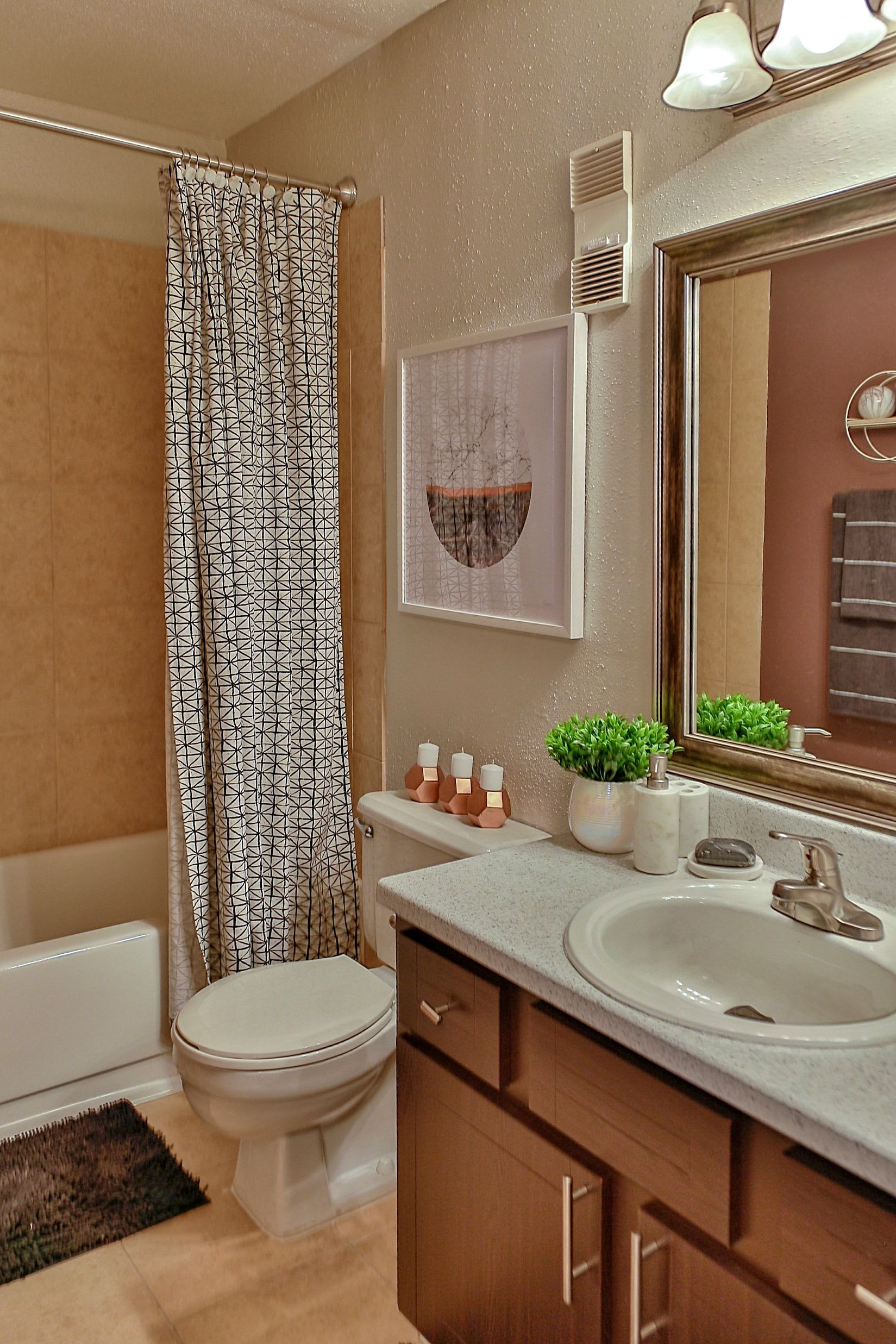 Bathroom area of a model apartment at Allegro on Bell in Antioch, Tennessee