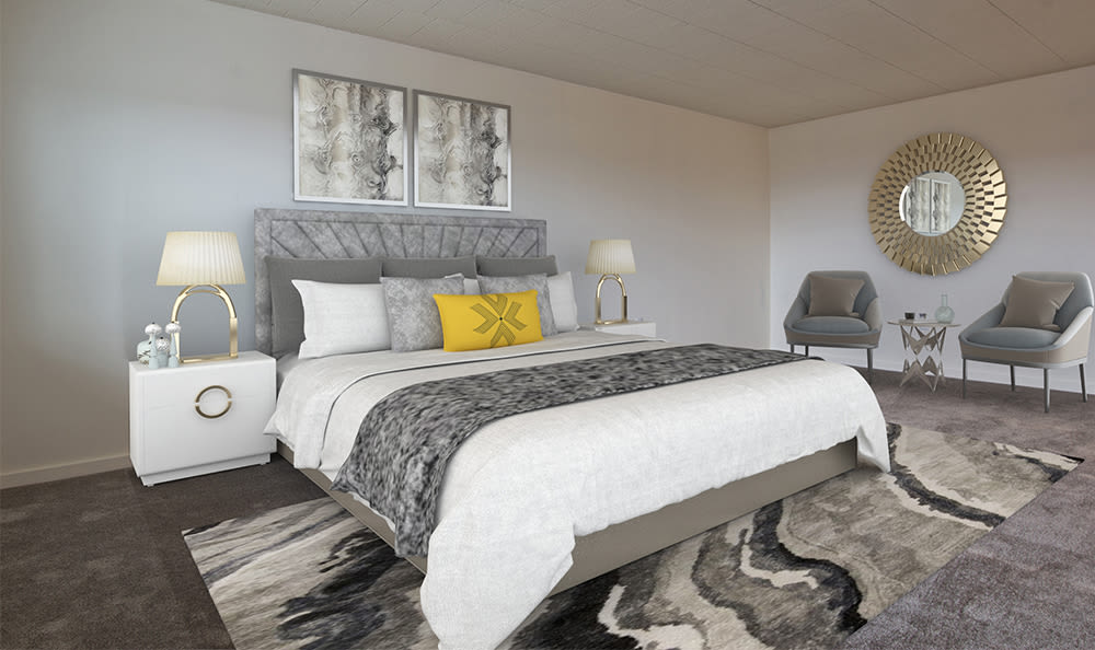 Cozy bedroom at The Avalon Apartment Homes in Avalon, Pennsylvania