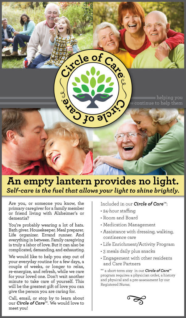 Circle of care poster for The Pointe at Summit Hills in Bakersfield, California