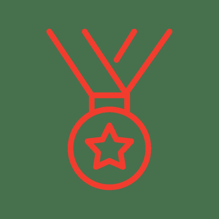 A metal award icon from Red Dot Storage in Oswego, Illinois