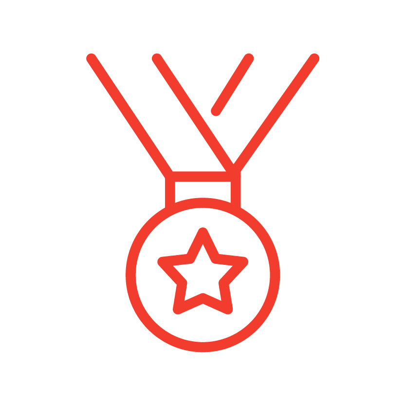 A metal award icon from Red Dot Storage in DeKalb, Illinois