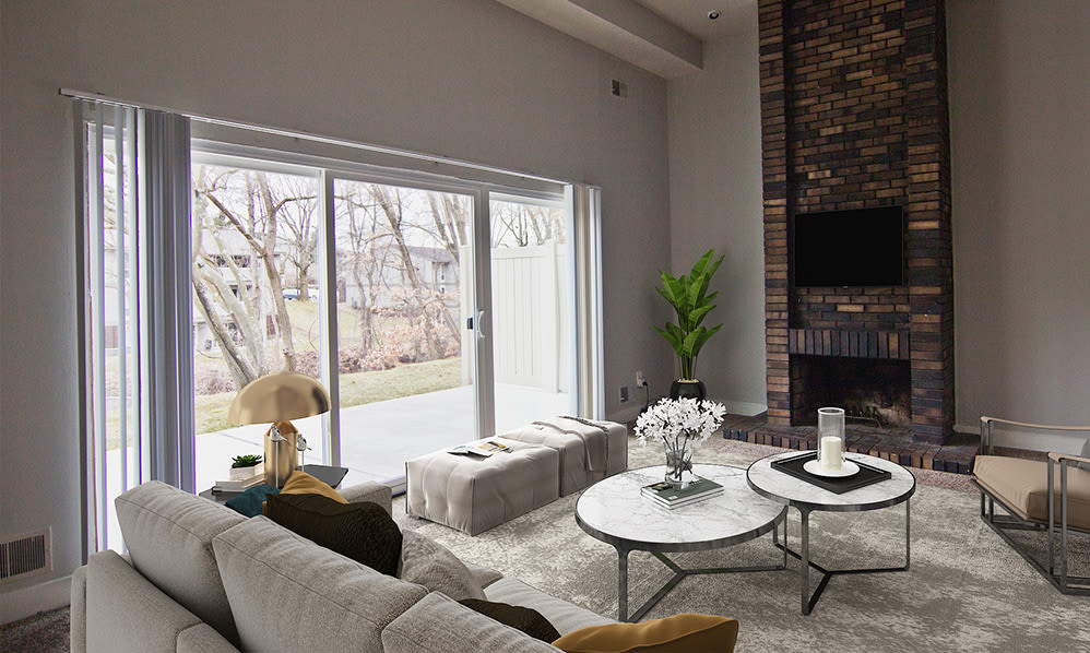 Naturally well-lit living room at Nineteen North Apartments in Pittsburgh, Pennsylvania