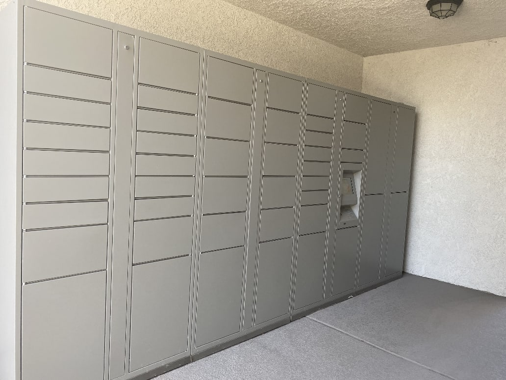 Parcel pending locker at Sierra Heights Apartments in Rancho Cucamonga, California