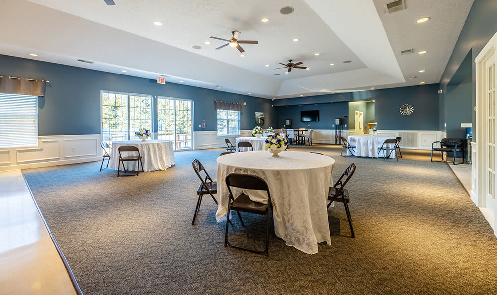 Spacious clubhouse dining area at Avon Commons in Avon, New York