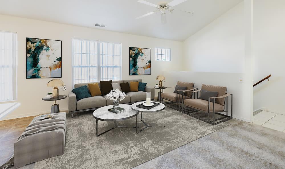 Naturally well-lit living room at Avon Commons in Avon, New York