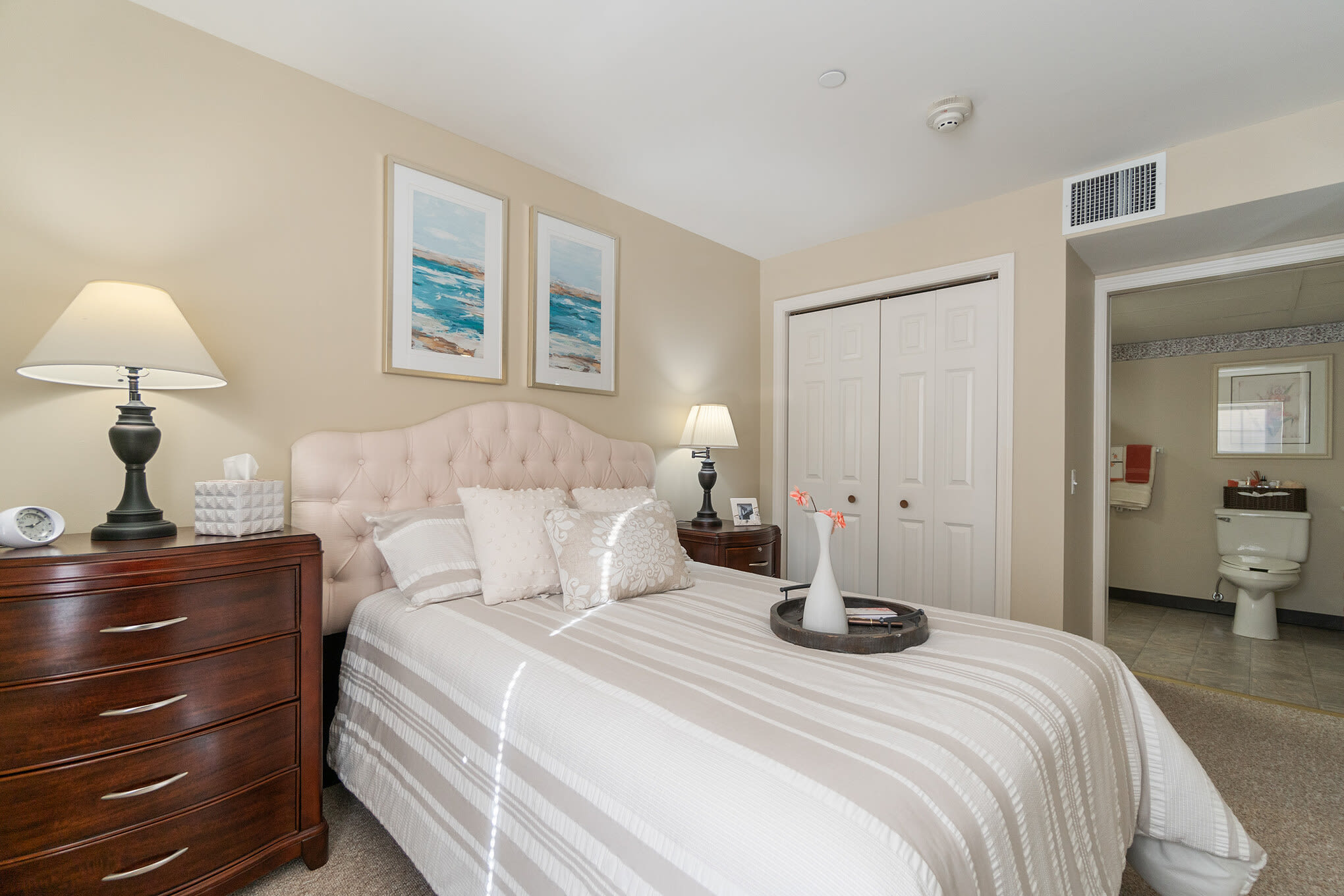 Senior apartment bedroom at The Hearth at Gardenside in Branford, Connecticut