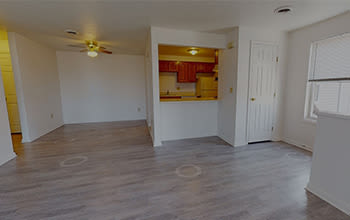 Virtual tour of a one bedroom apartment at Riverton Knolls in West Henrietta, New York