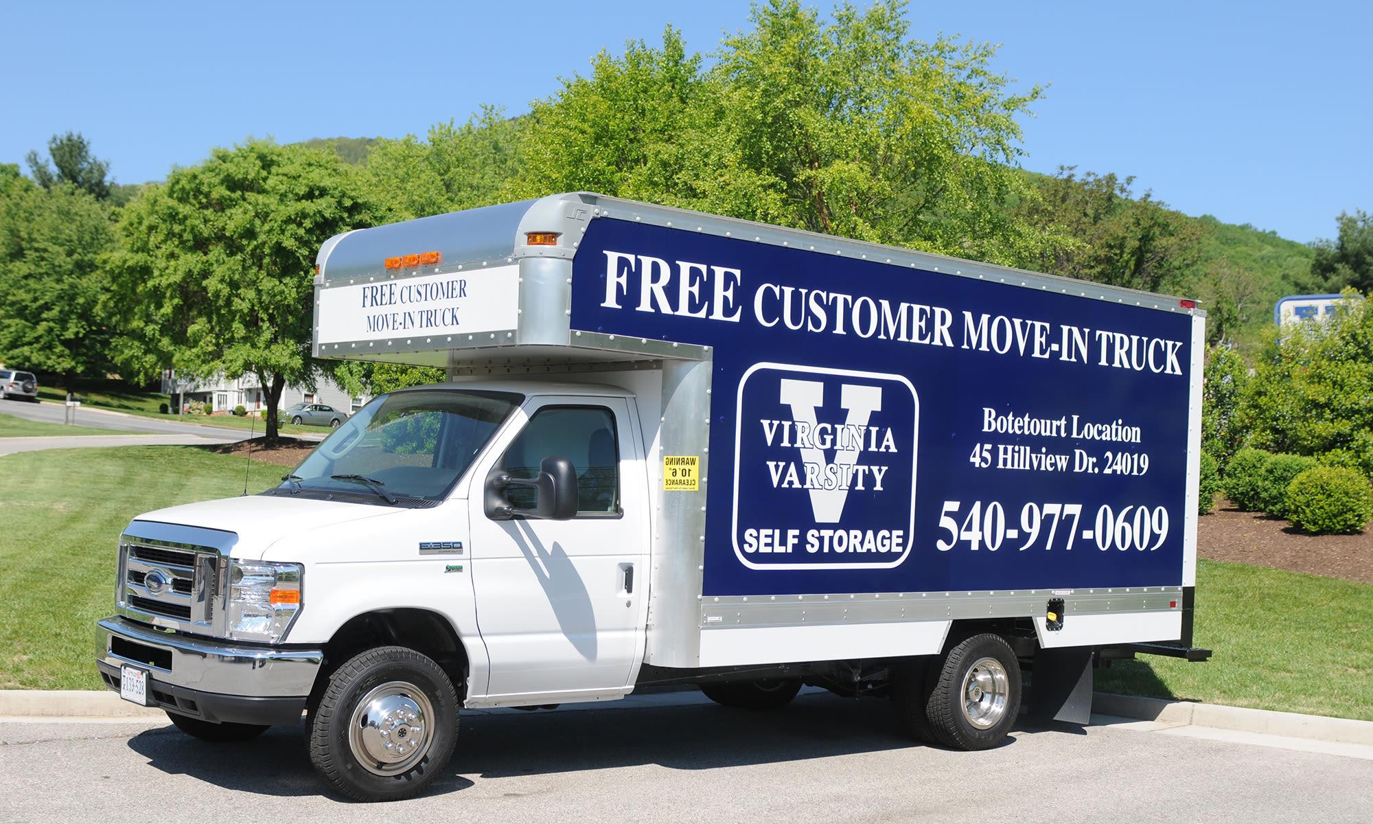 Moving truck at Virginia Varsity Storage in Roanoke, Virginia