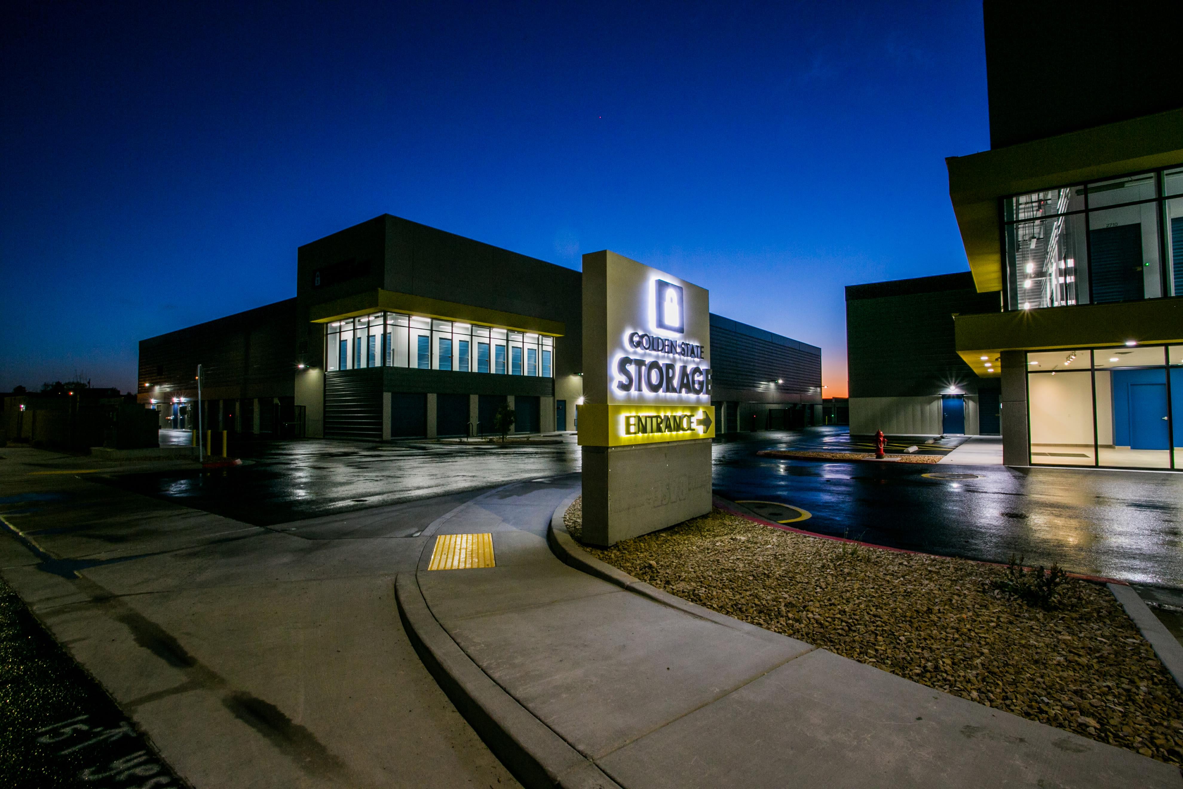 Exterior at night Golden State Storage - Blue Diamond in Las Vegas, Nevada