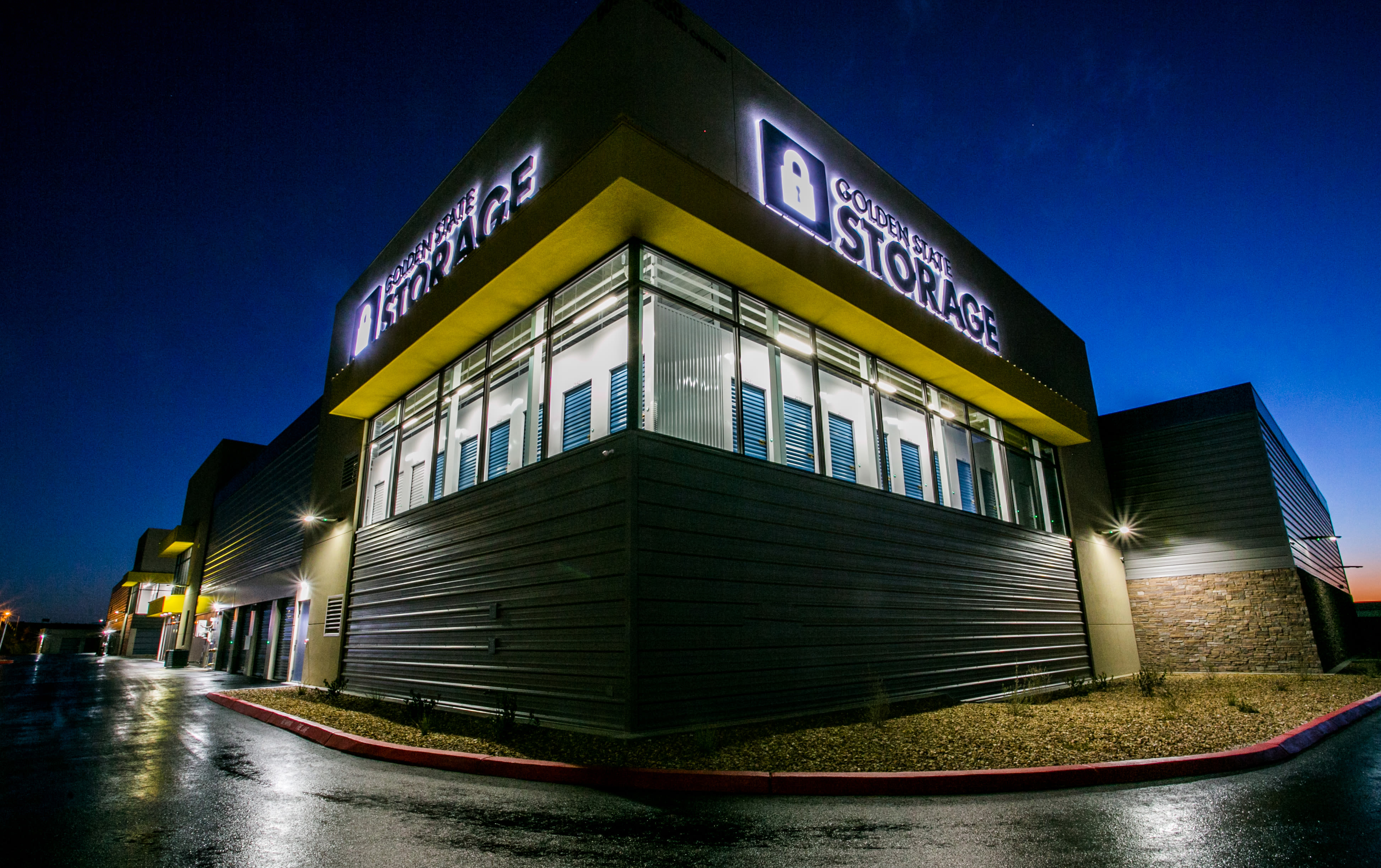 Close up exterior at night of Golden State Storage - Blue Diamond in Las Vegas, Nevada