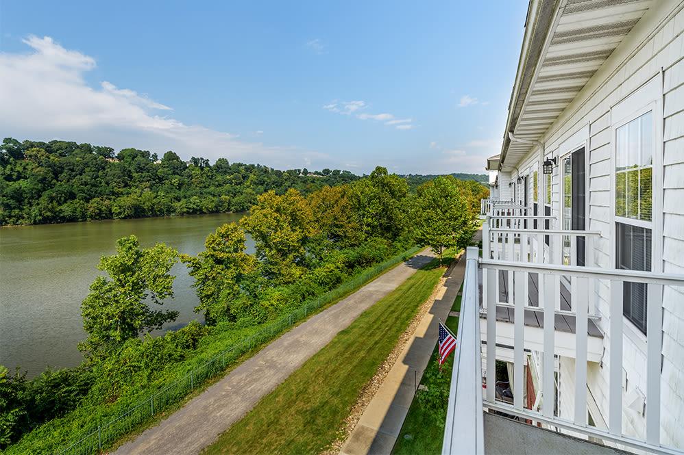 Riverfront views at The Waterfront Apartments & Townhomes in Munhall, Pennsylvania