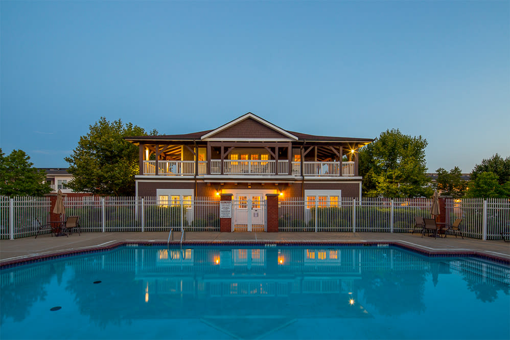Pool side view at The Waterfront Apartments & Townhomes in Munhall, Pennsylvania
