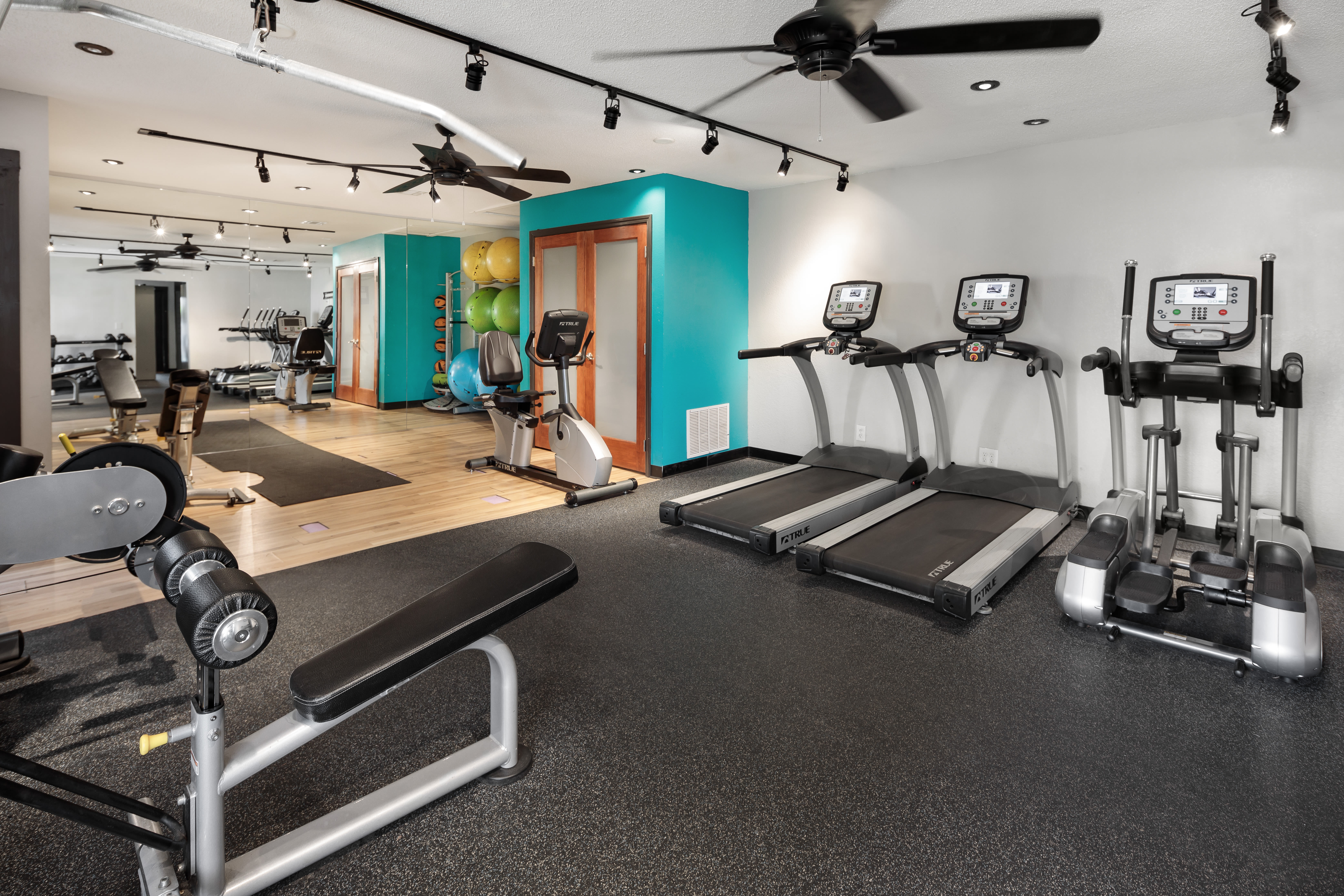 Well-equipped fitness center at The Franklin in Marietta, Georgia