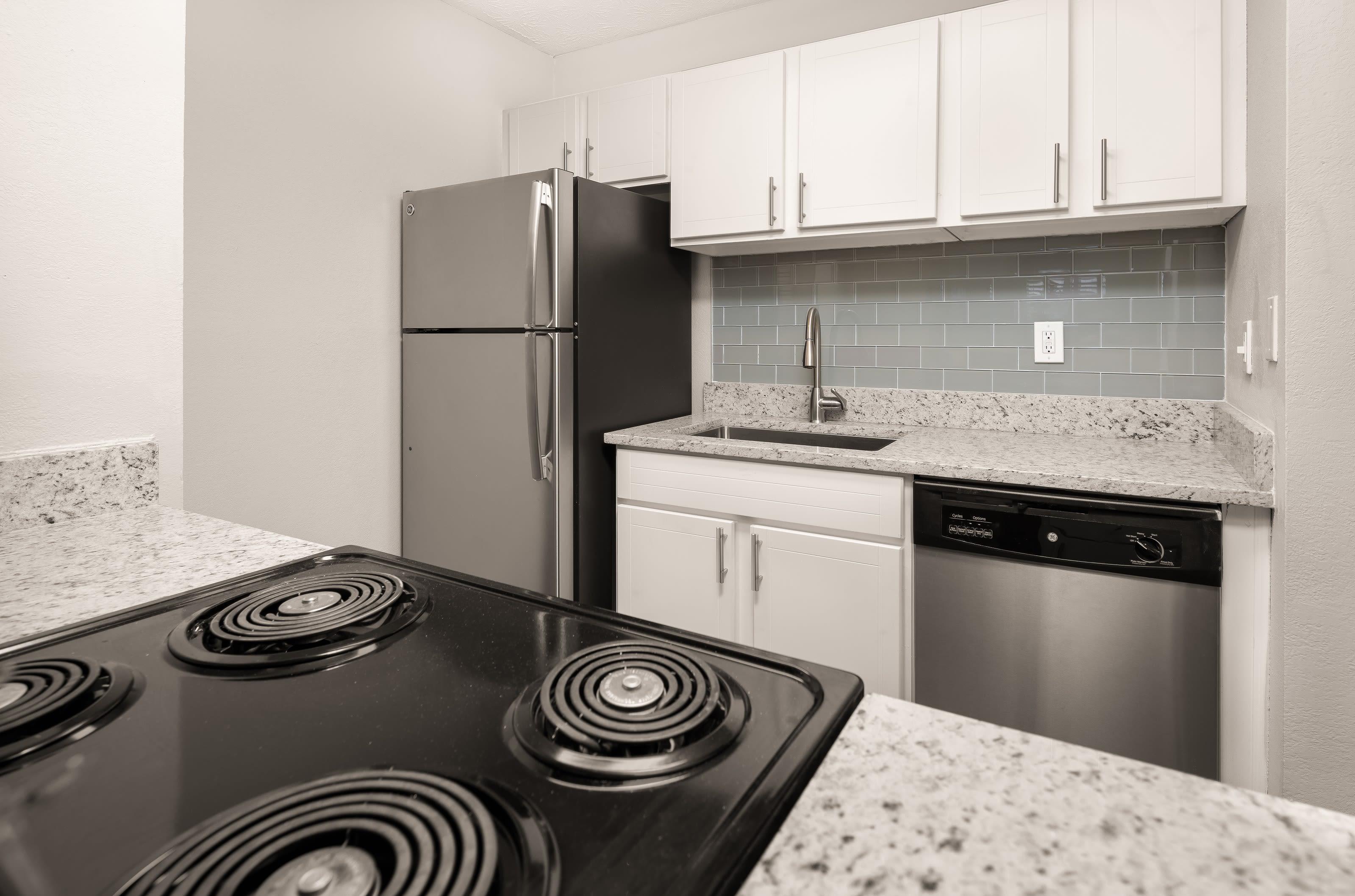 An apartment kitchen at The Franklin in Marietta, GA