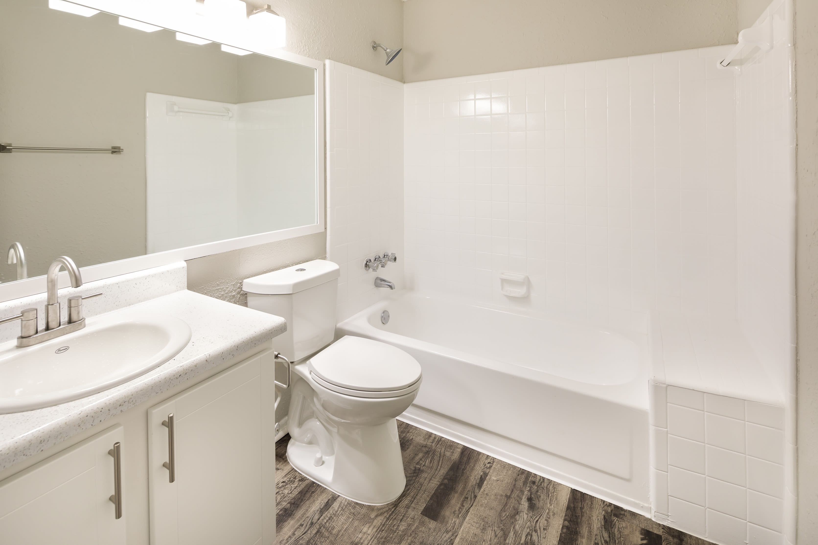 An apartment bathroom at The Franklin in Marietta, GA