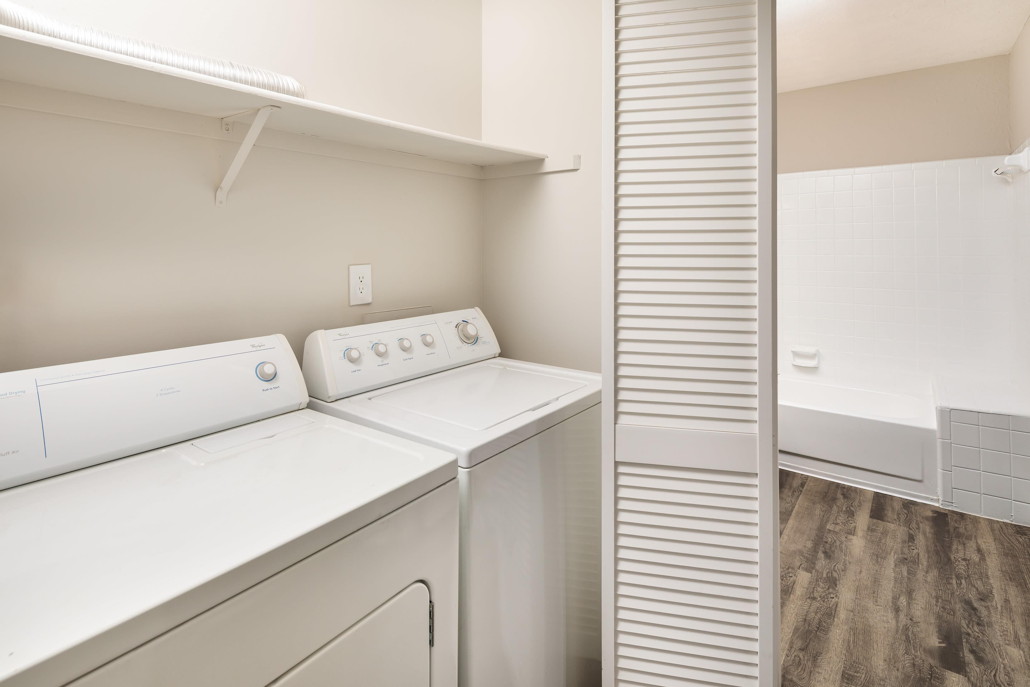 A washer and dryer in an apartment at The Franklin in Marietta, GA