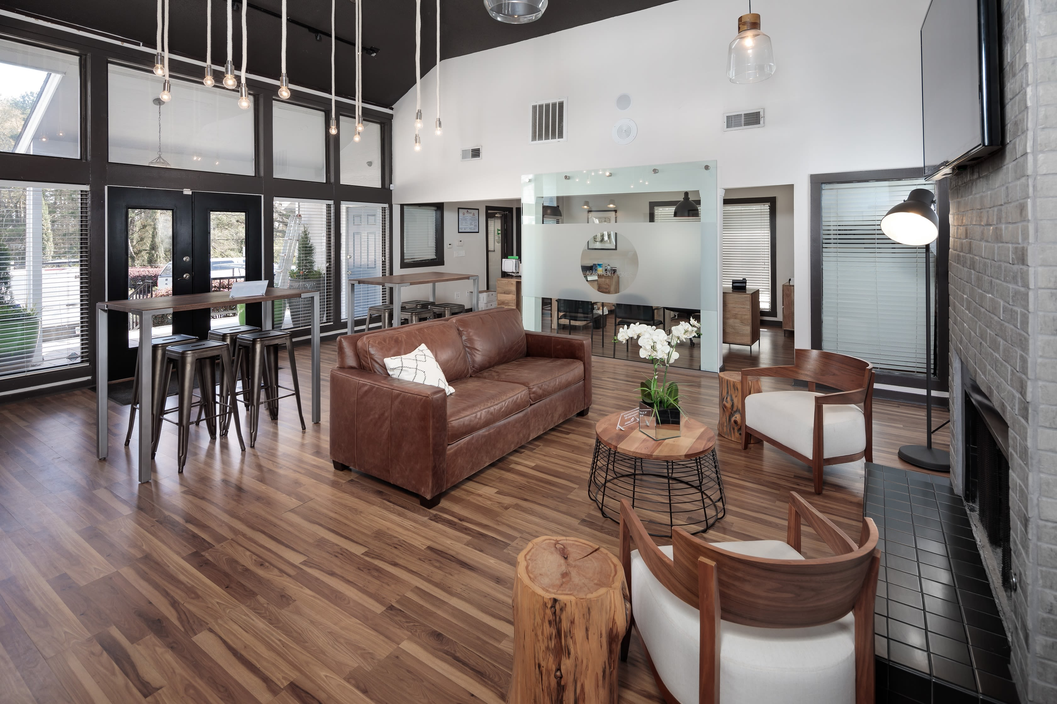 A seating area in a community clubhouse at The Franklin in Marietta, GA