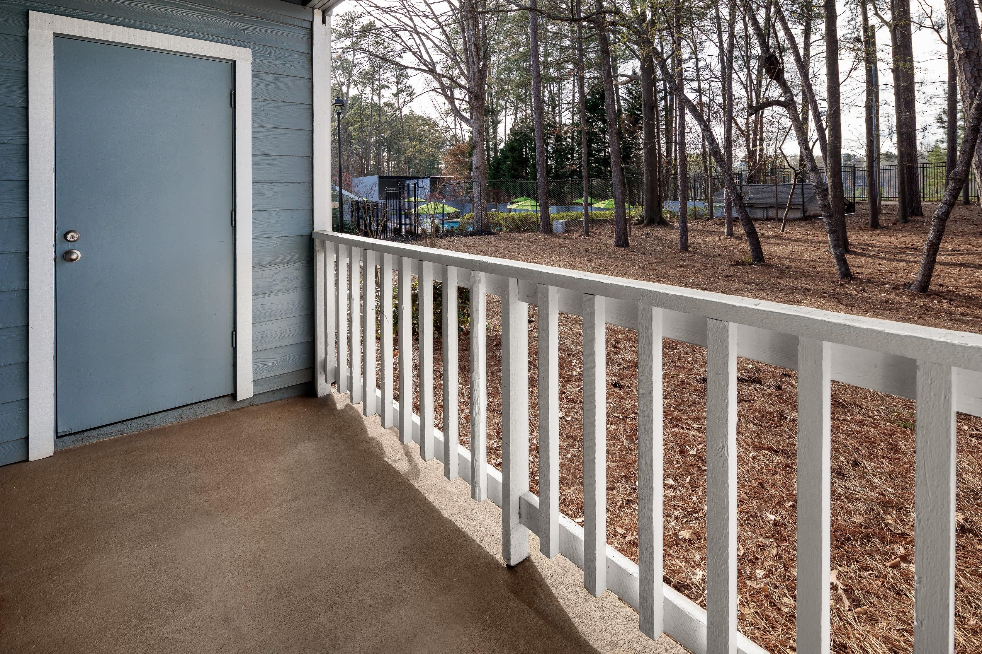 A private patio at The Franklin in Marietta, GA