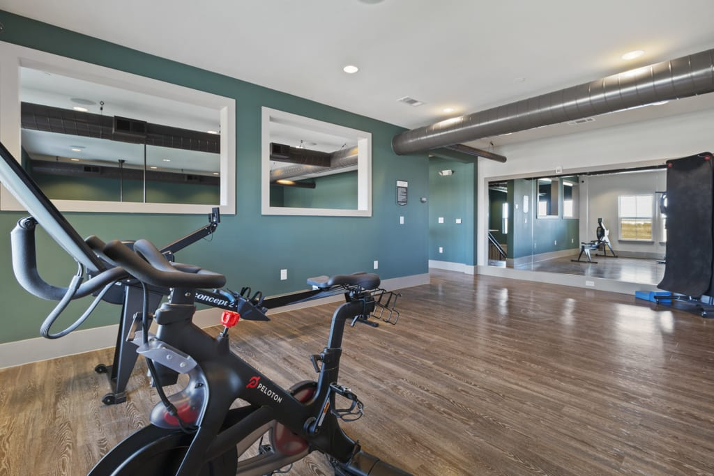 Spin cycle bike in workout room at McCarty Commons in San Marcos, Texas