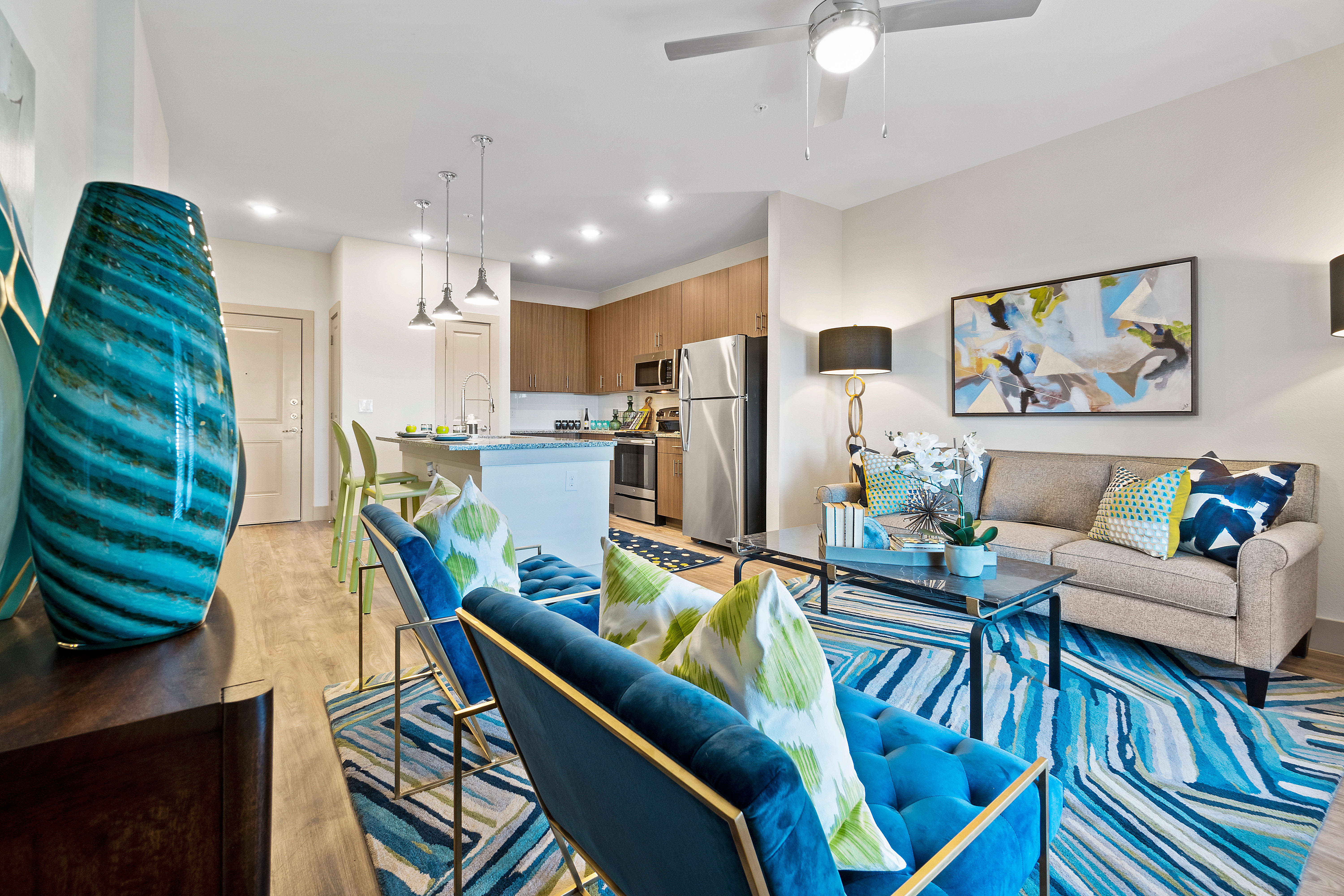 An open-concept living room at McCarty Commons in San Marcos, Texas