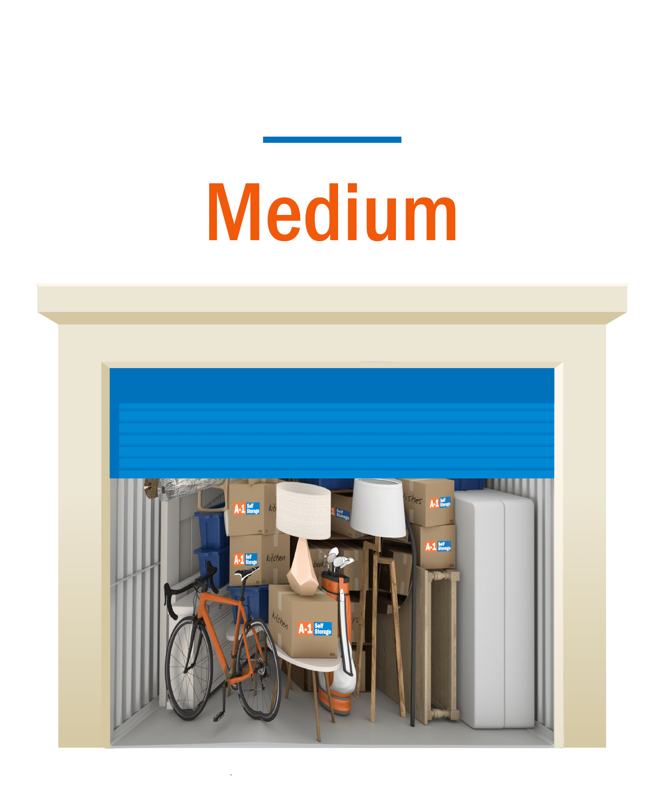Medium storage unit graphic with open door