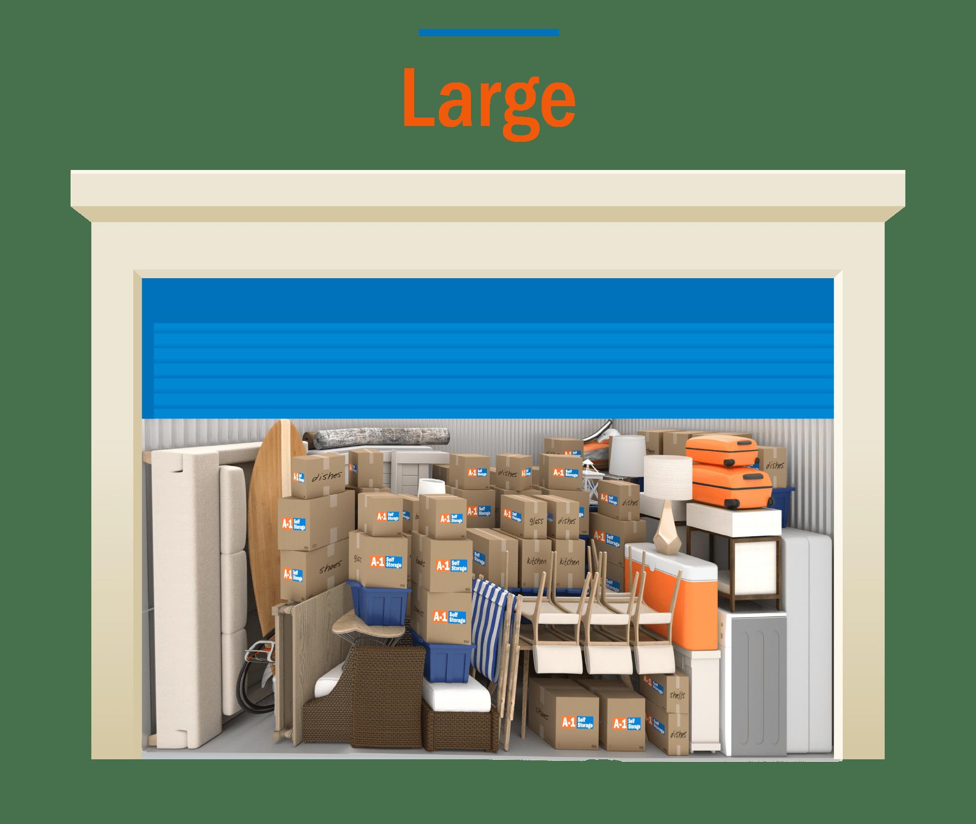 Large storage unit graphic with door open