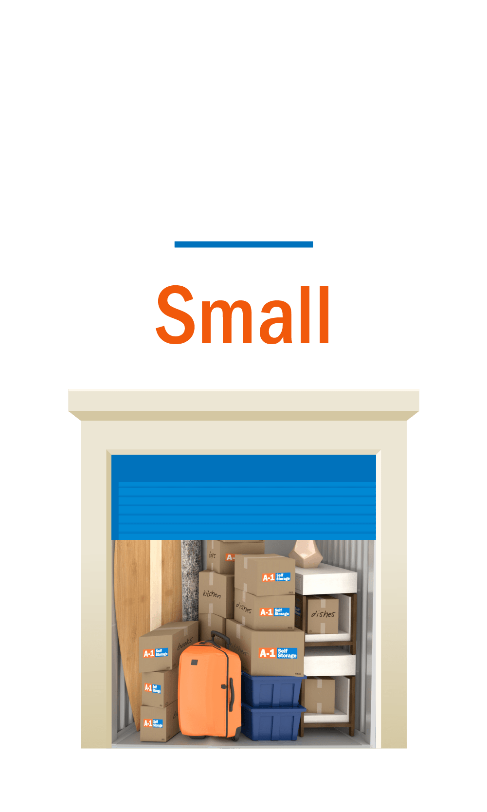 Small storage unit graphic with door open