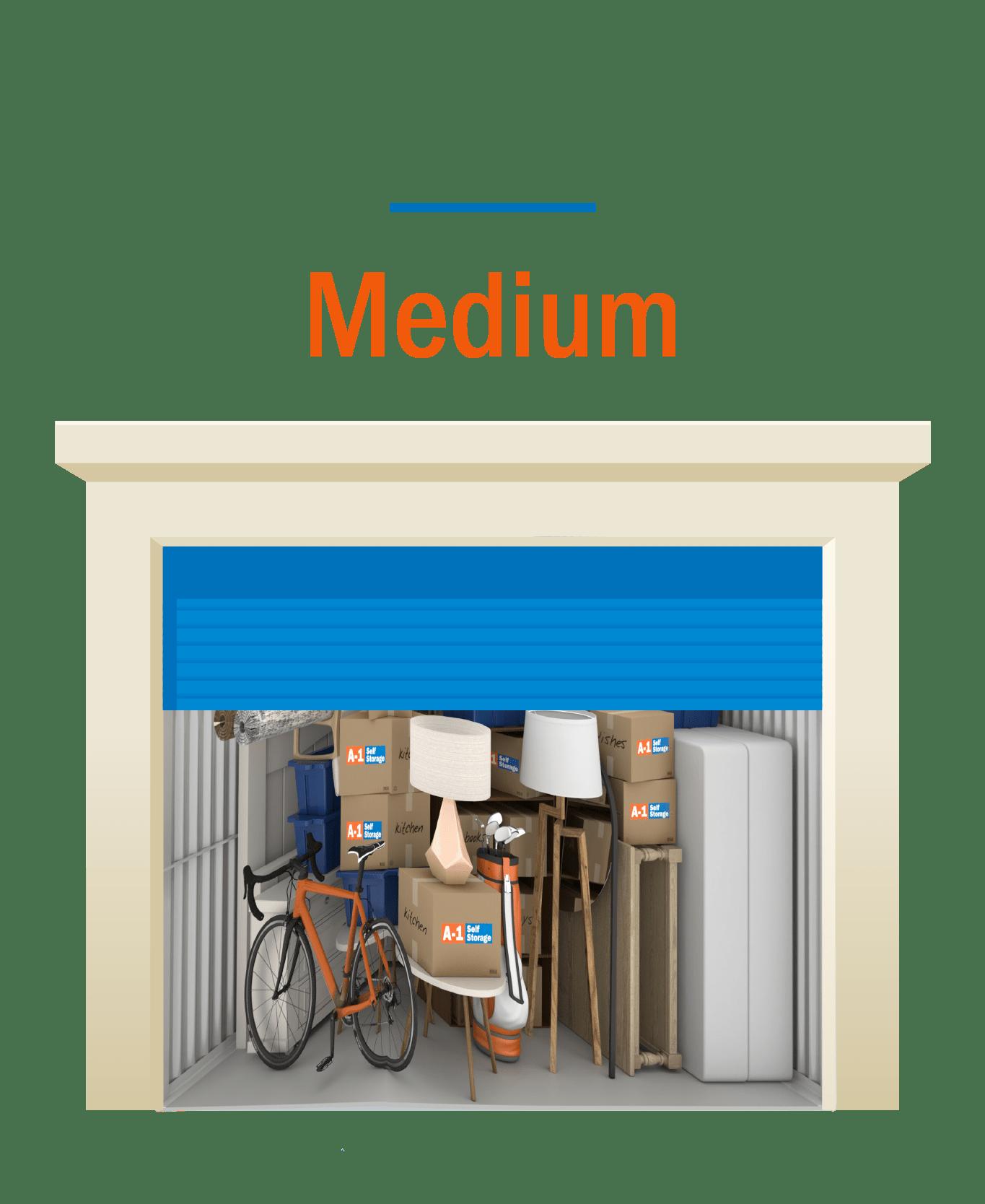 Medium storage unit graphic with door open