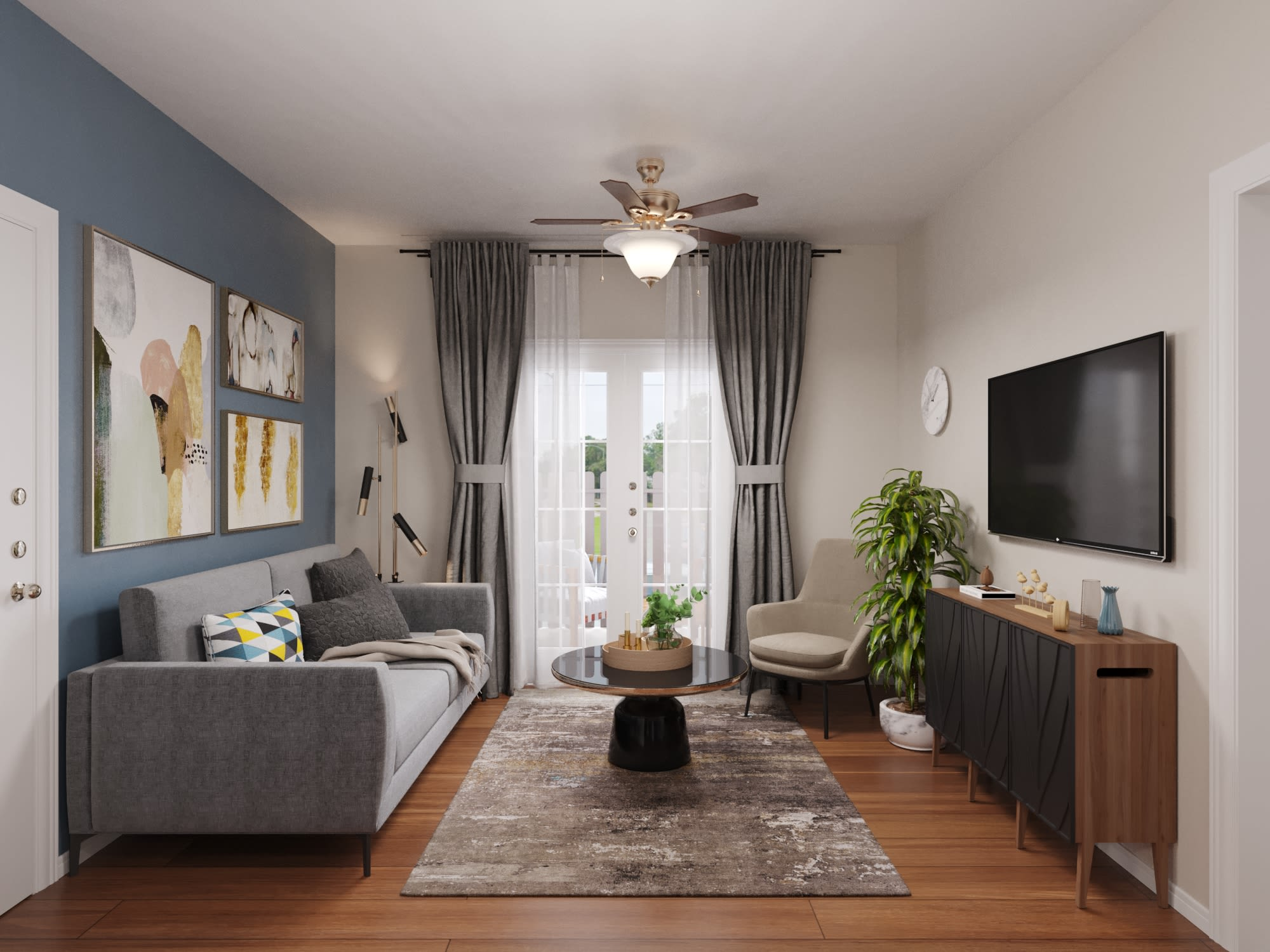 View virtual tour for 1 bedroom 1 bathroom home at Vantage Point in Houston, Texas