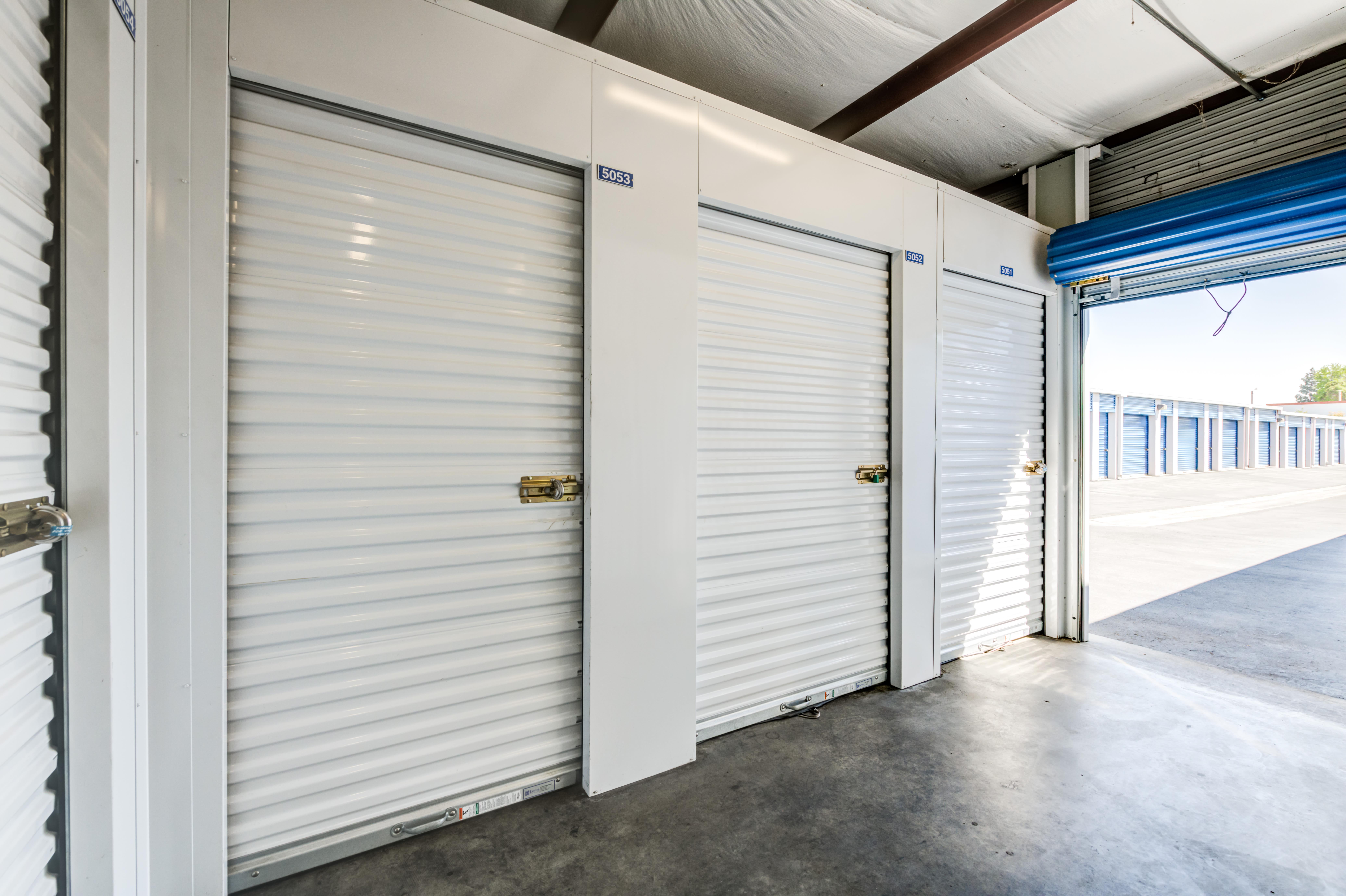 open door and indoor storage units at Storage Etc... Pomona