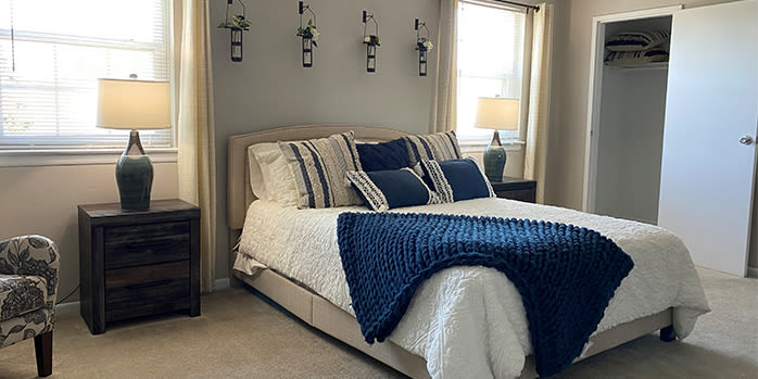 Bedroom at apartments in Lumberton, New Jersey
