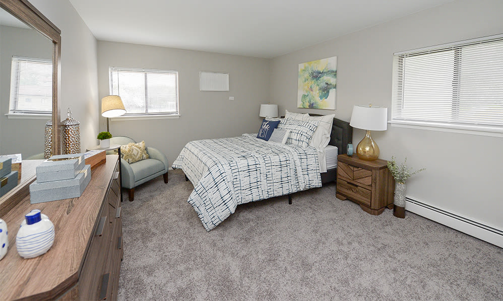Master bedroom at Imperial Gardens Apartment Homes in Middletown, NY