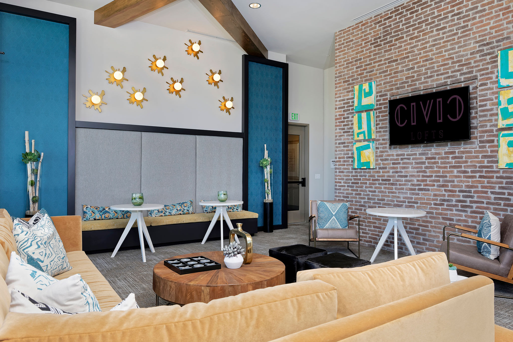 Modern decorated comfortable lounge at  Civic Lofts in Downtown Denver, CO