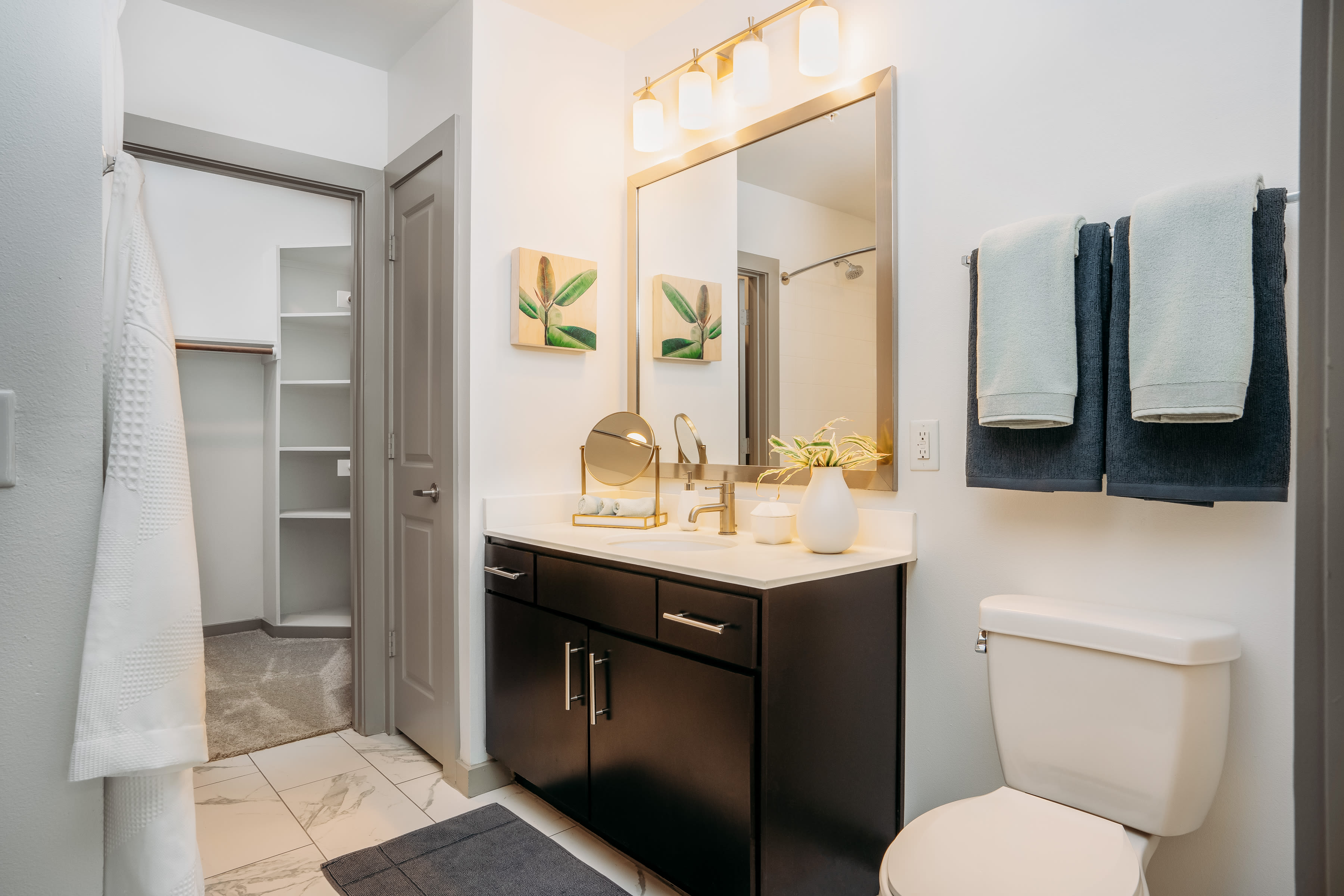 Large bathroom with walk in closet at Lakeshore Pearl in Austin, Texas