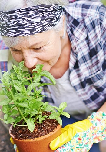 One of our happy residents tending to her flowers at Cascade Creek in Rochester, Minnesota.