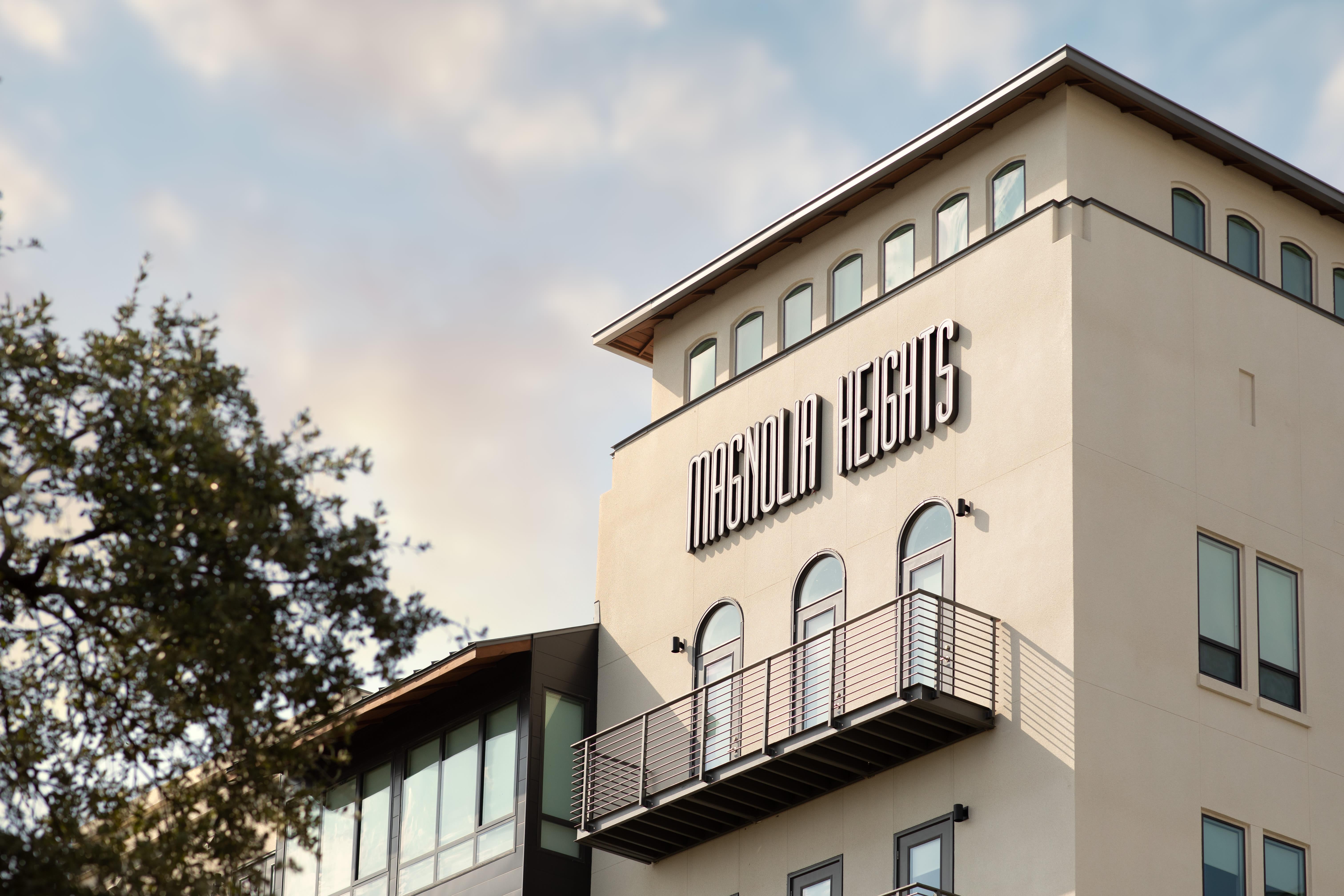 Sign on building of Magnolia Heights in San Antonio, Texas