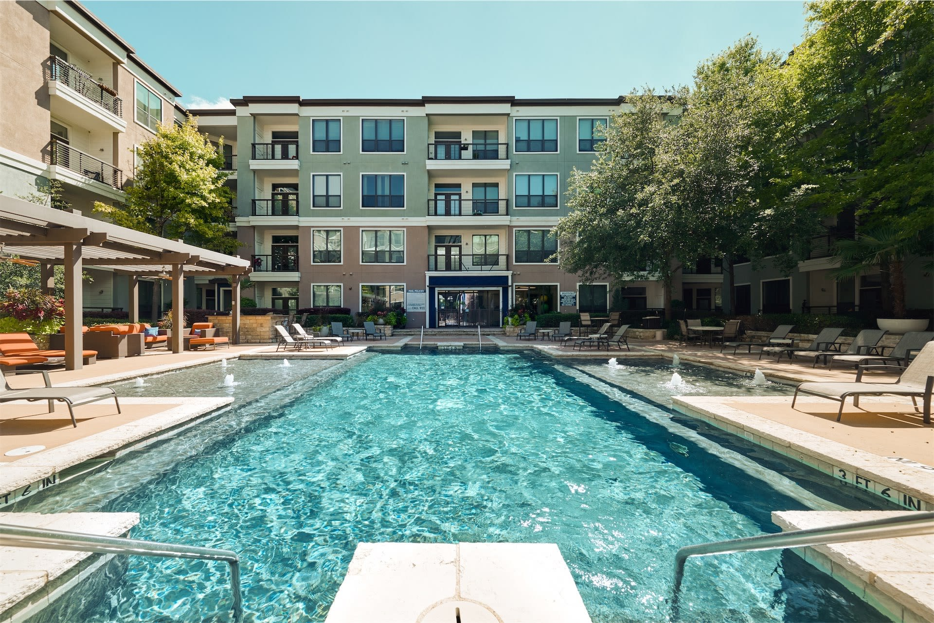 inviting luxury pool at Seville Uptown in Dallas, Texas