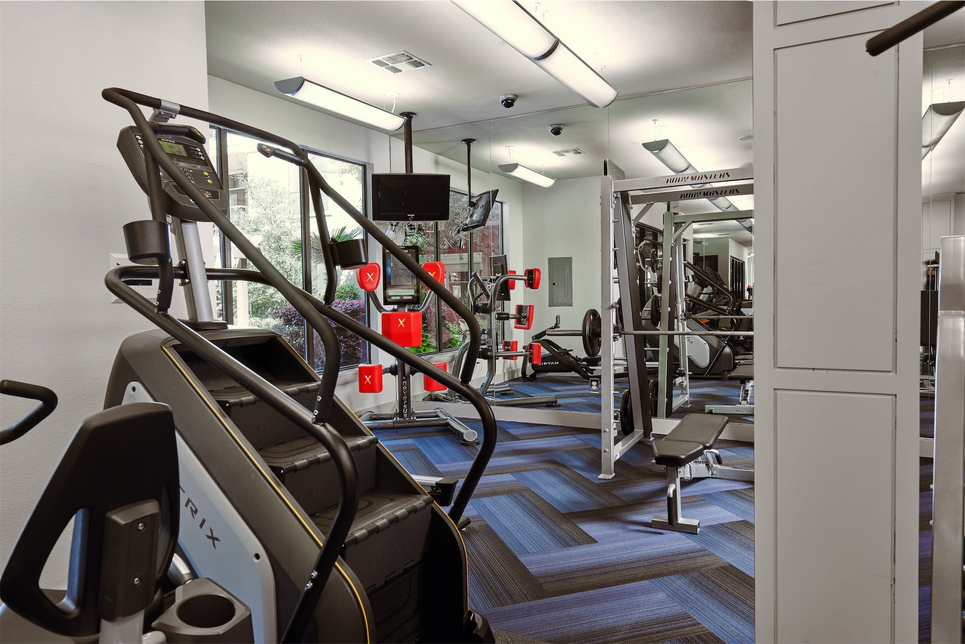 Stair step workout equipment at Seville Uptown in Dallas, Texas