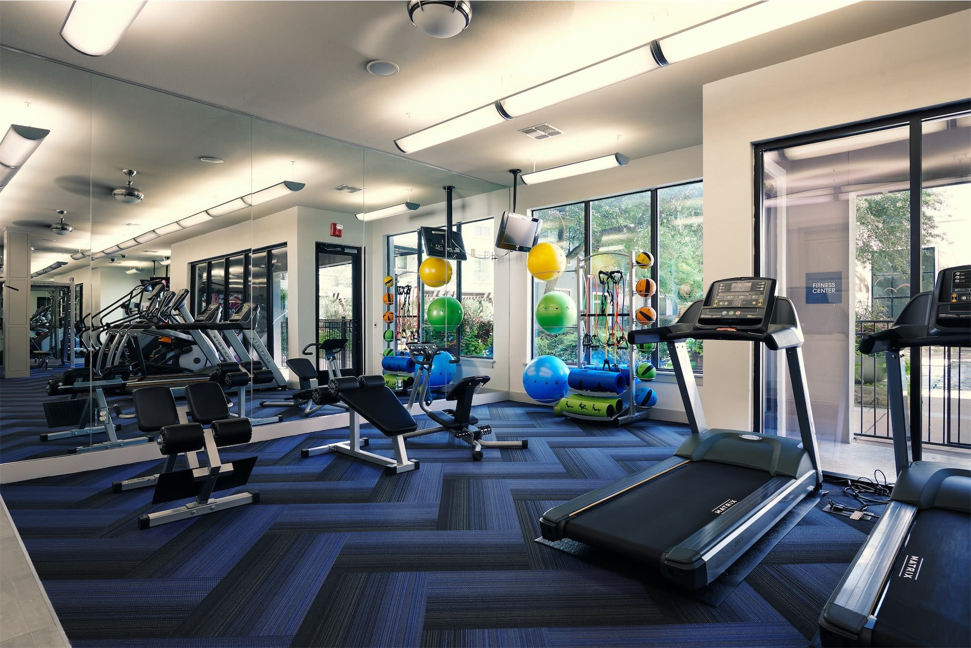 Treadmills and workout equipment at Seville Uptown in Dallas, Texas