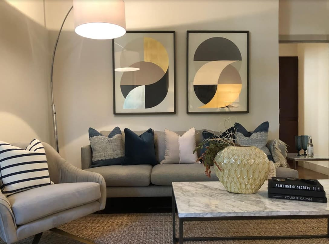 artfully furnished living room at Seville Uptown in Dallas, Texas