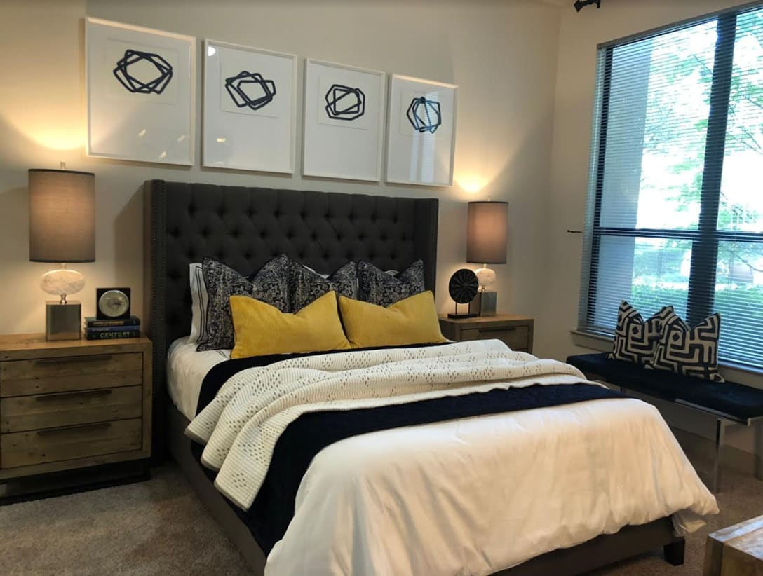Comfortably finished bedroom at Seville Uptown in Dallas, Texas