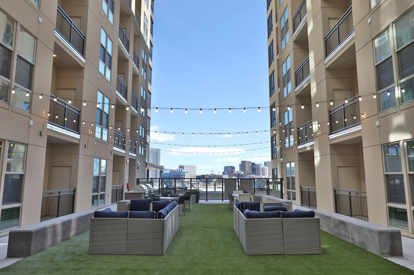 Outdoor grilling area at The Alcott in Downtown Denver, Colorado