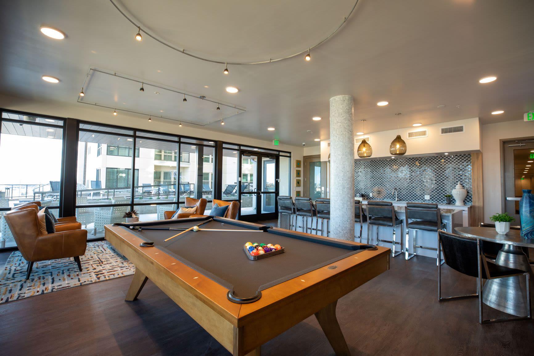 Billiard room at The Alcott in Downtown Denver, Colorado
