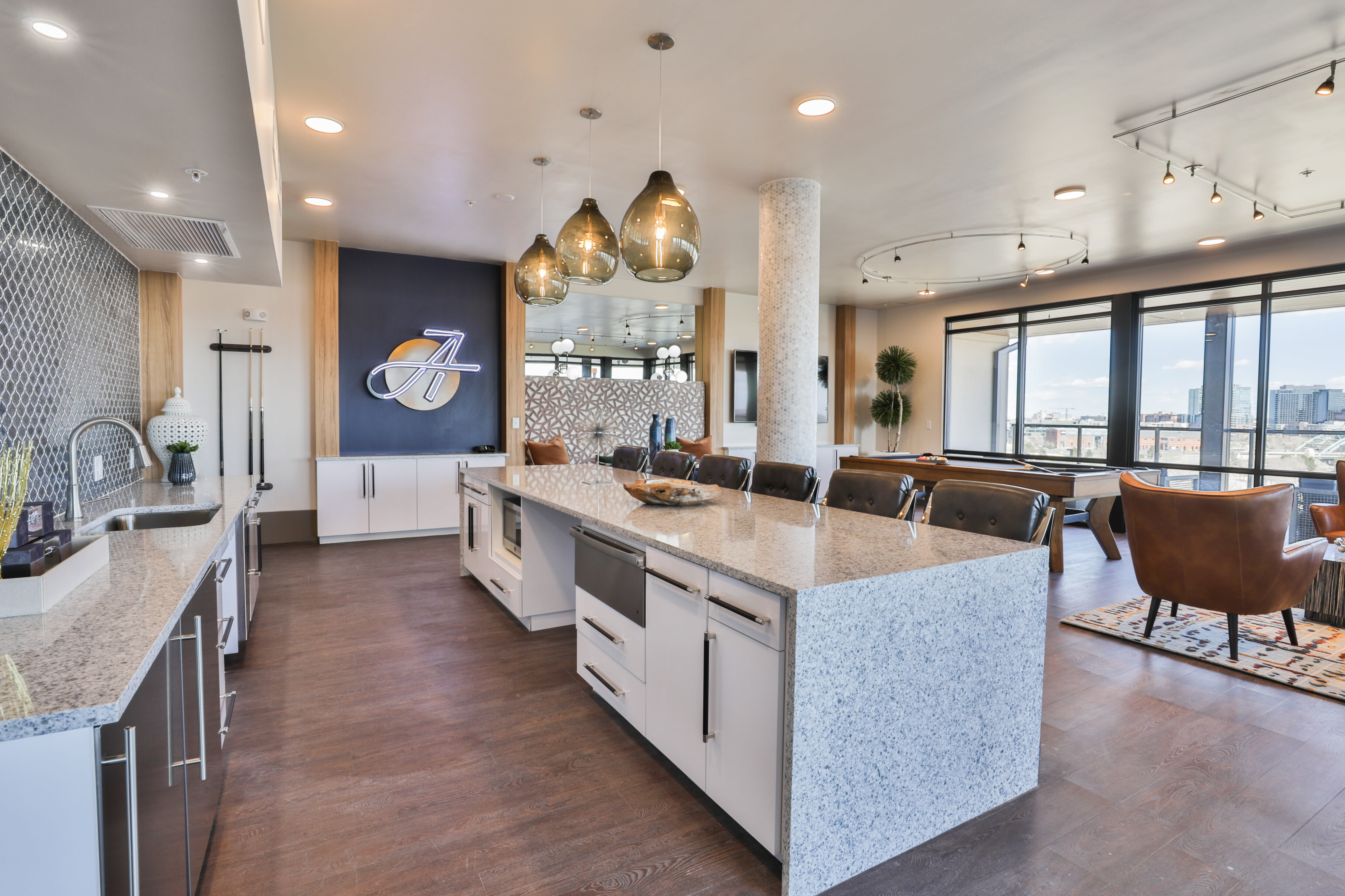 Resident kitchen lounge at The Alcott in Downtown Denver, Colorado