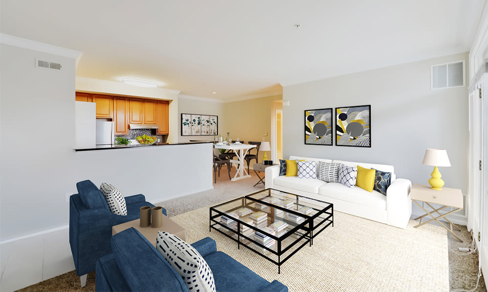 Spacious living room at Bishop's View Apartments & Townhomes in Cherry Hill, NJ