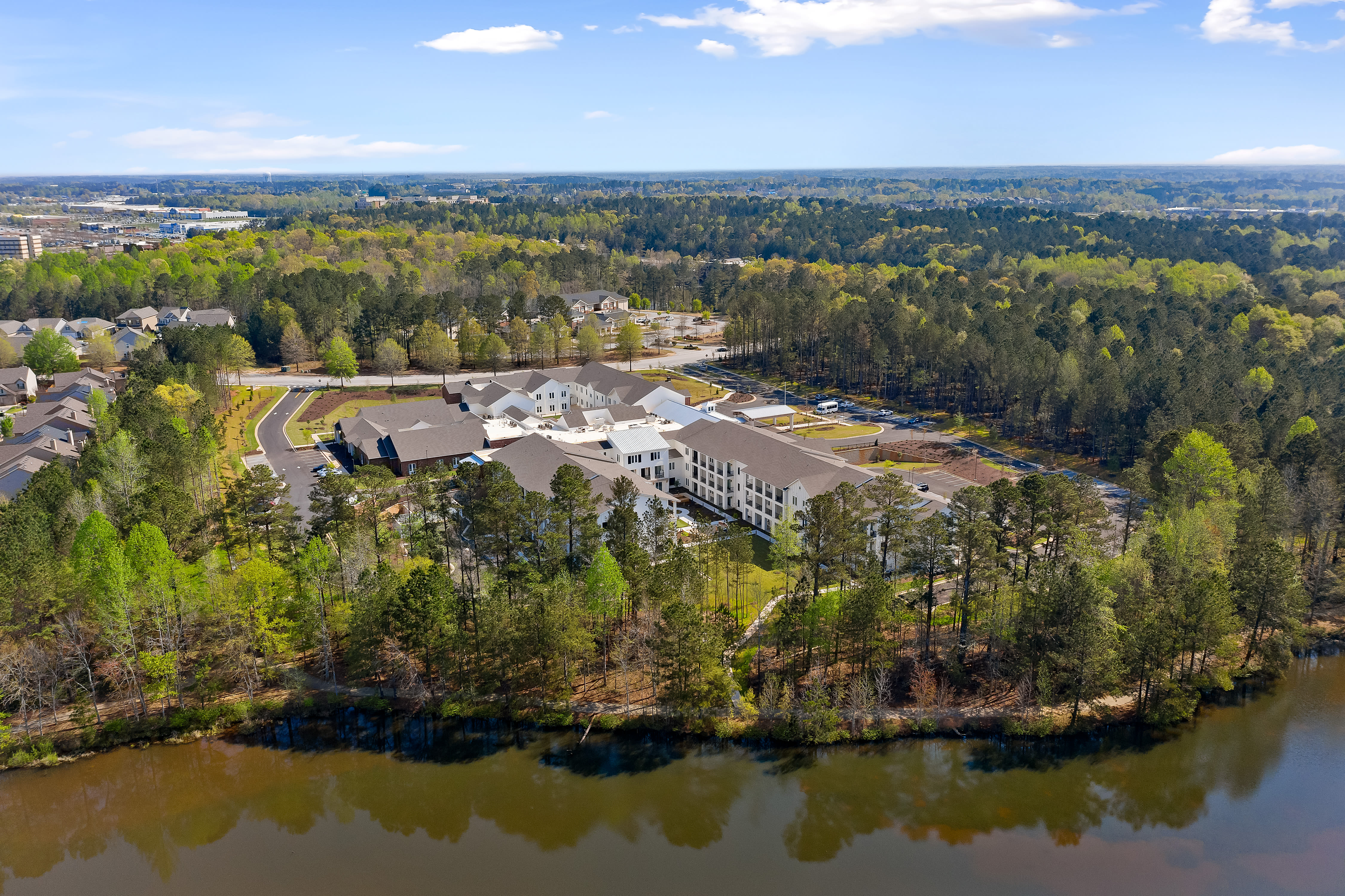 Aerial scenic view of The Claiborne at Newnan Lakes in Newnan, GA