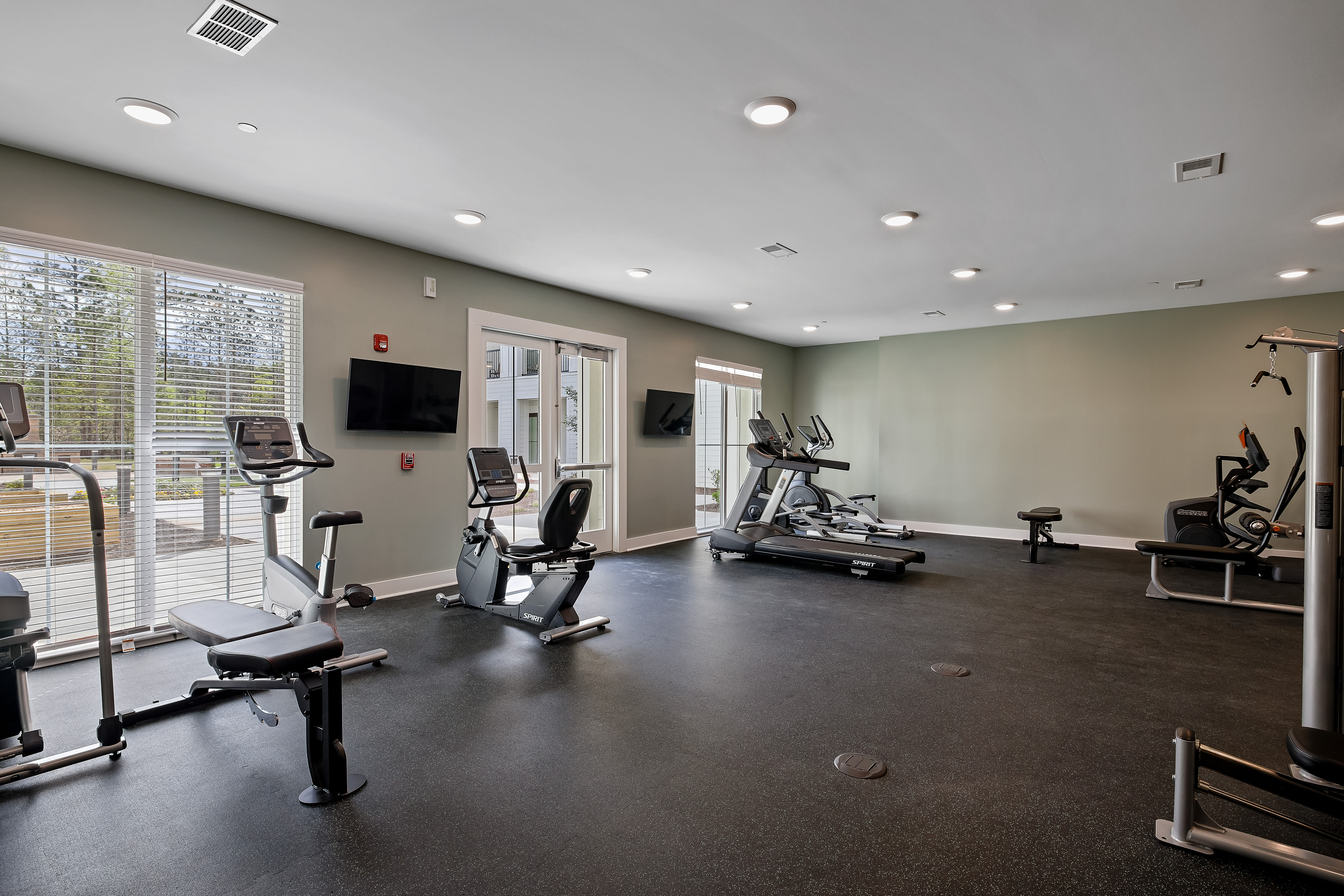 Spacious fitness center of The Claiborne at Newnan Lakes in Newnan, GA