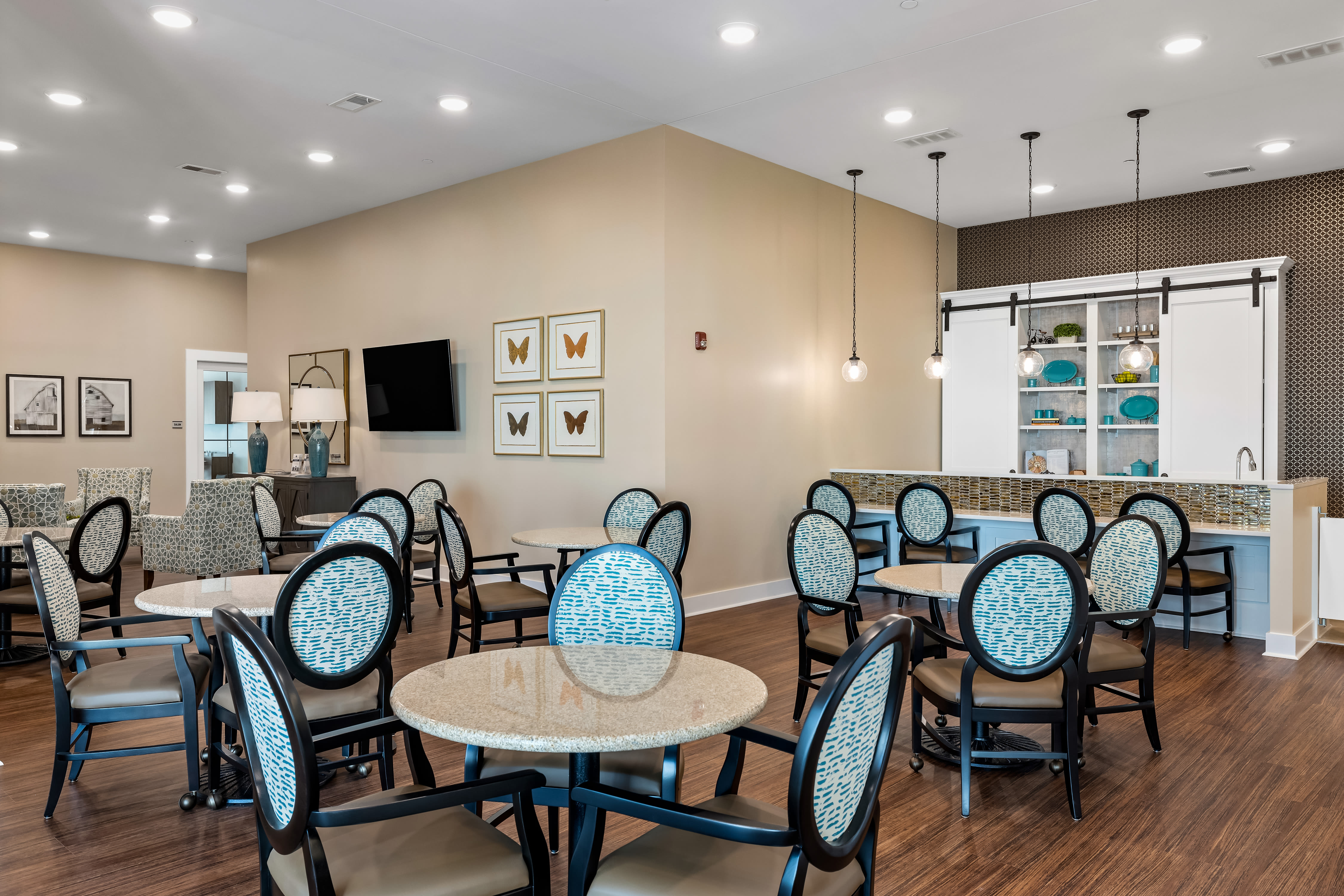 Kitchen and dining hall of The Claiborne at Newnan Lakes in Newnan, GA