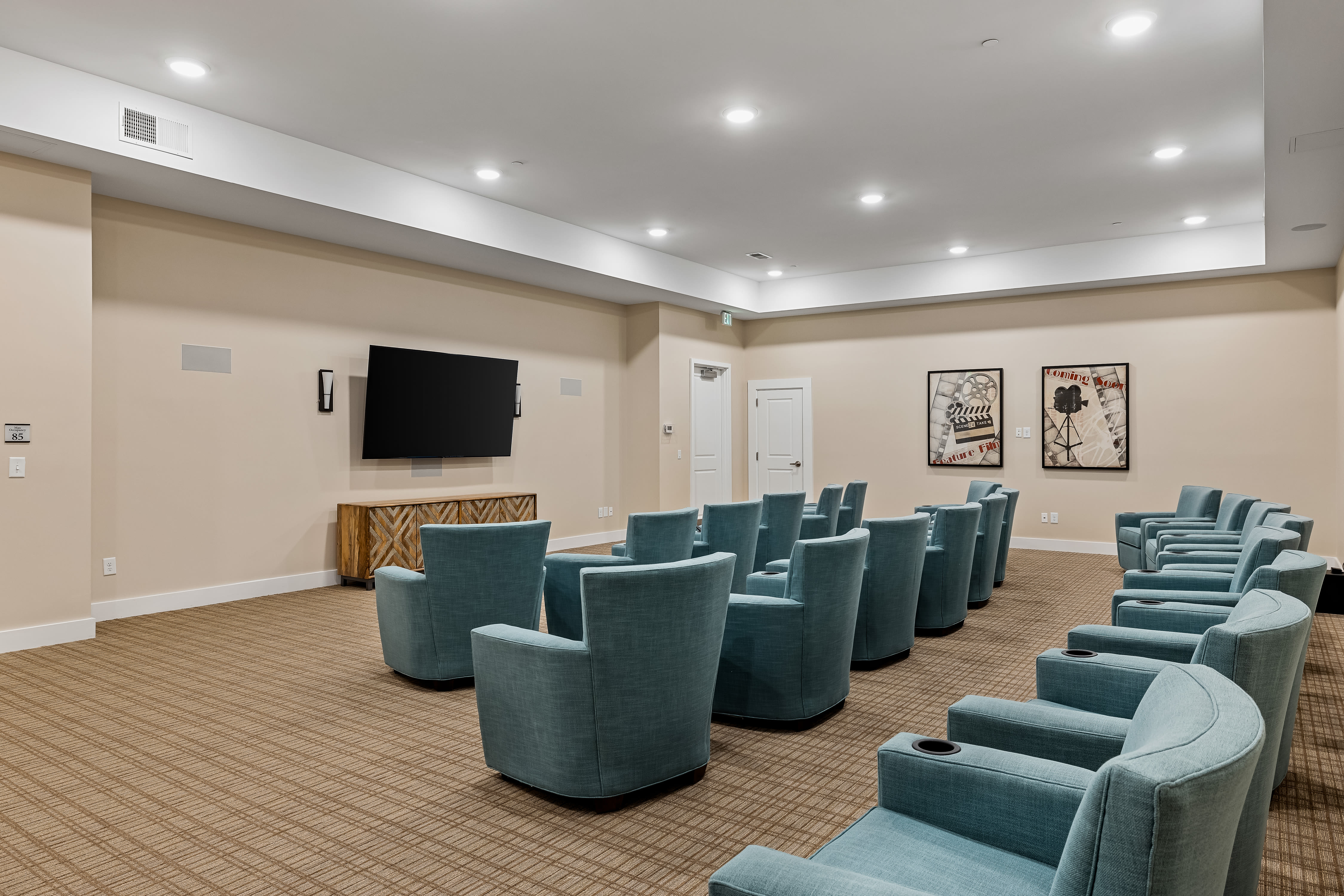 Comfortable theater at The Claiborne at Newnan Lakes in Newnan, GA