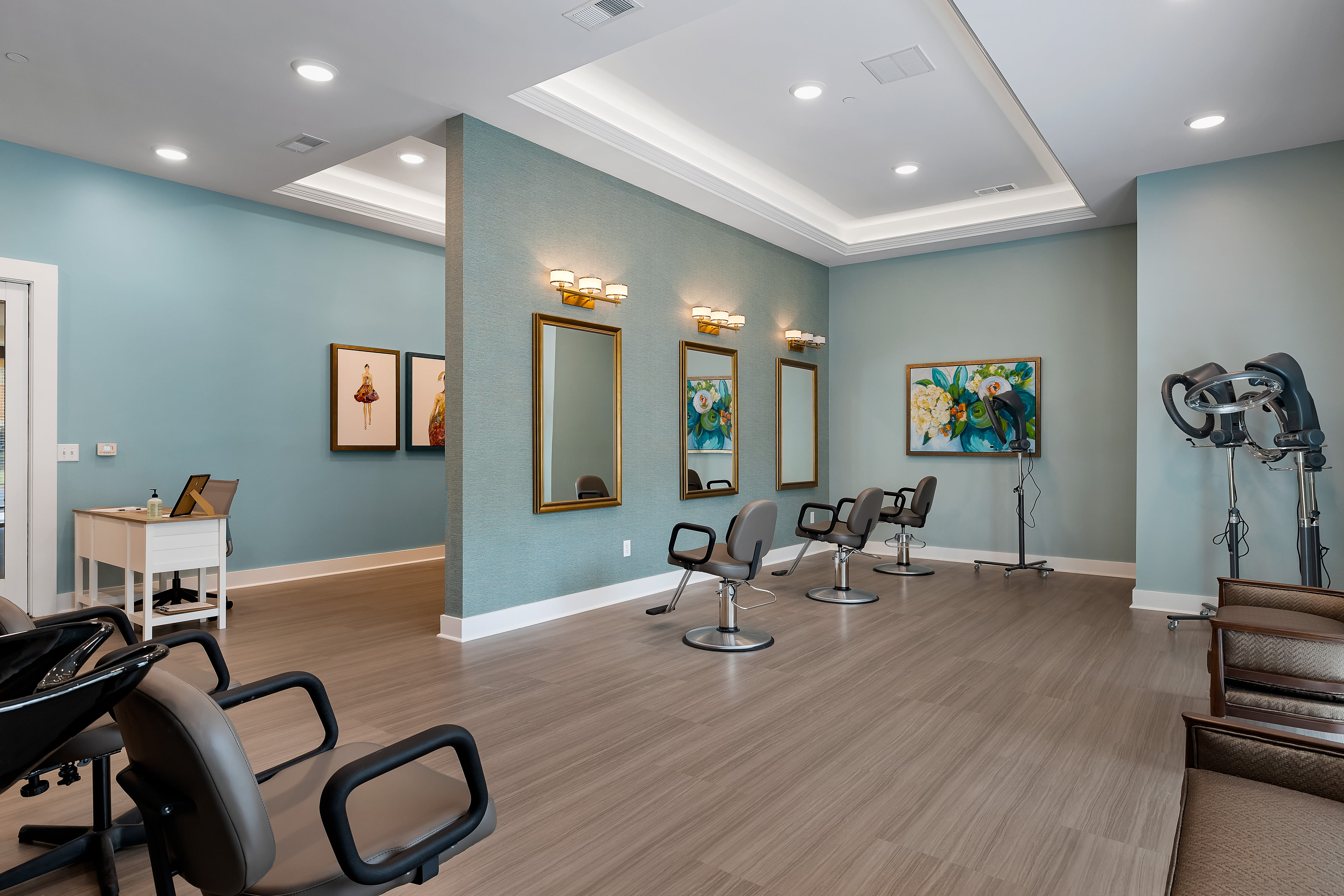 Modern salon at The Claiborne at Newnan Lakes in Newnan, GA